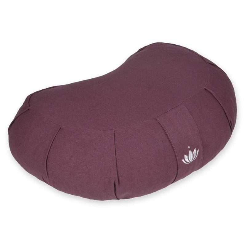 """Zafu Crescent Meditation Cushion """"Siddha"""" - Aubergine"""