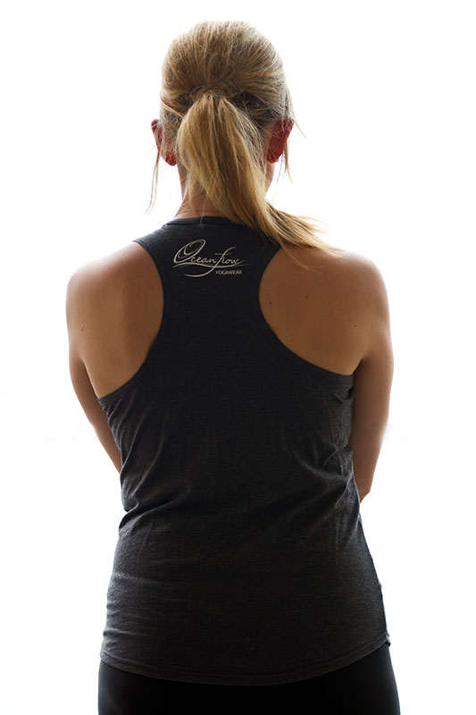 Oceanflow Yogawear Grey Yoga Vest Top Racerback sports tank