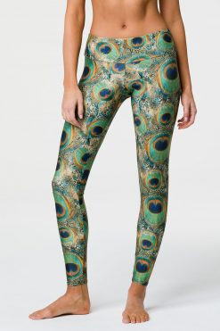 Onzie Full length yoga leggings peacock print