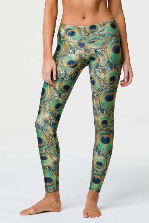 Onzie Full length yoga leggings peacock print