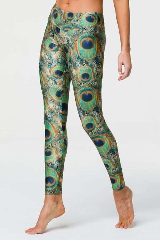 Onzie Full length yoga leggings peacock print side
