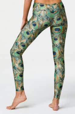 Onzie Full length yoga leggings peacock print back