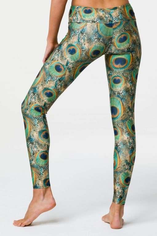 Onzie Full length yoga leggings peacock print back