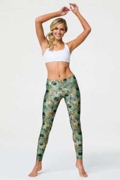 Onzie Full length yoga leggings peacock print lifestyle
