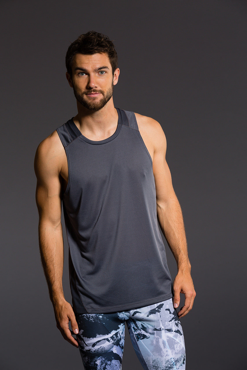Onzie Mens Muscle Tank - Grey Gym Fitness Running