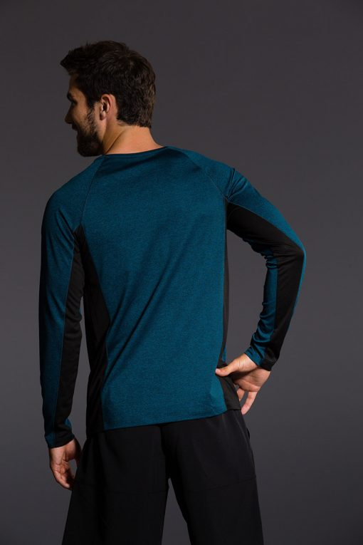 Onzie Mens Raglan Long Sleeve Top - Black Fiji blue yoga gym running