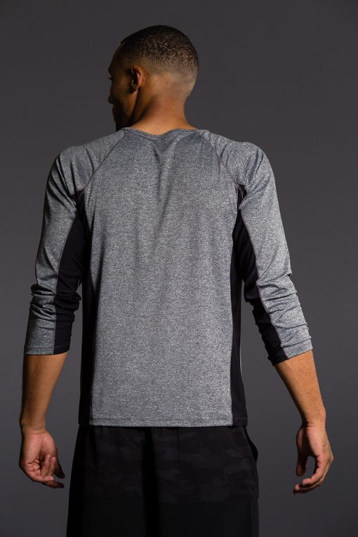 Onzie Mens Raglan Long Sleeve Top - Black grey yoga gym running