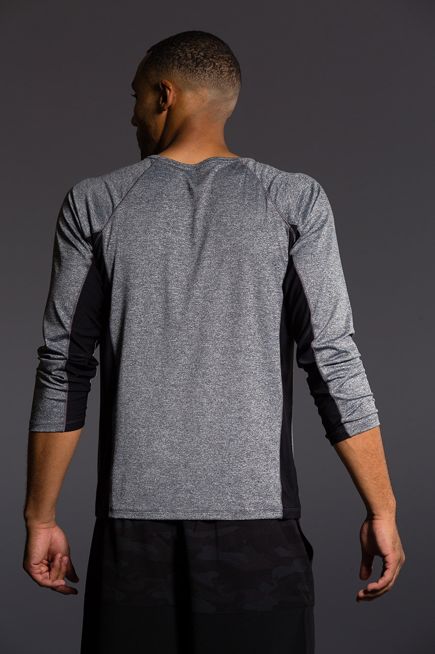 Onzie Mens Raglan Long Sleeve Top - Black grey yoga gym running 3c45e1e11b4