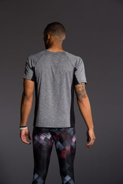 Onzie Mens Raglan Short Sleeve Tee - Grey Black gym fitness running yoga