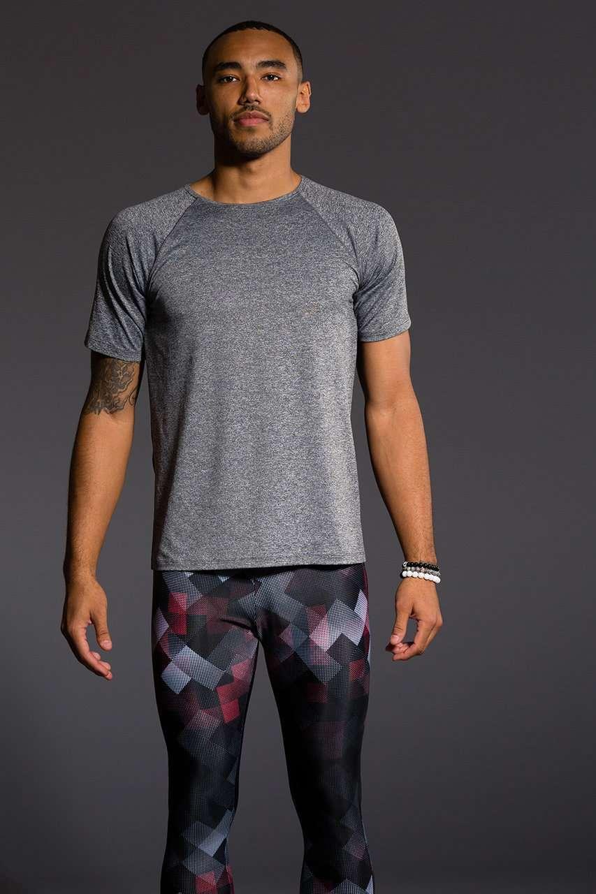 Onzie Mens Raglan Short Sleeve Tee - Grey Black gym fitness running yoga