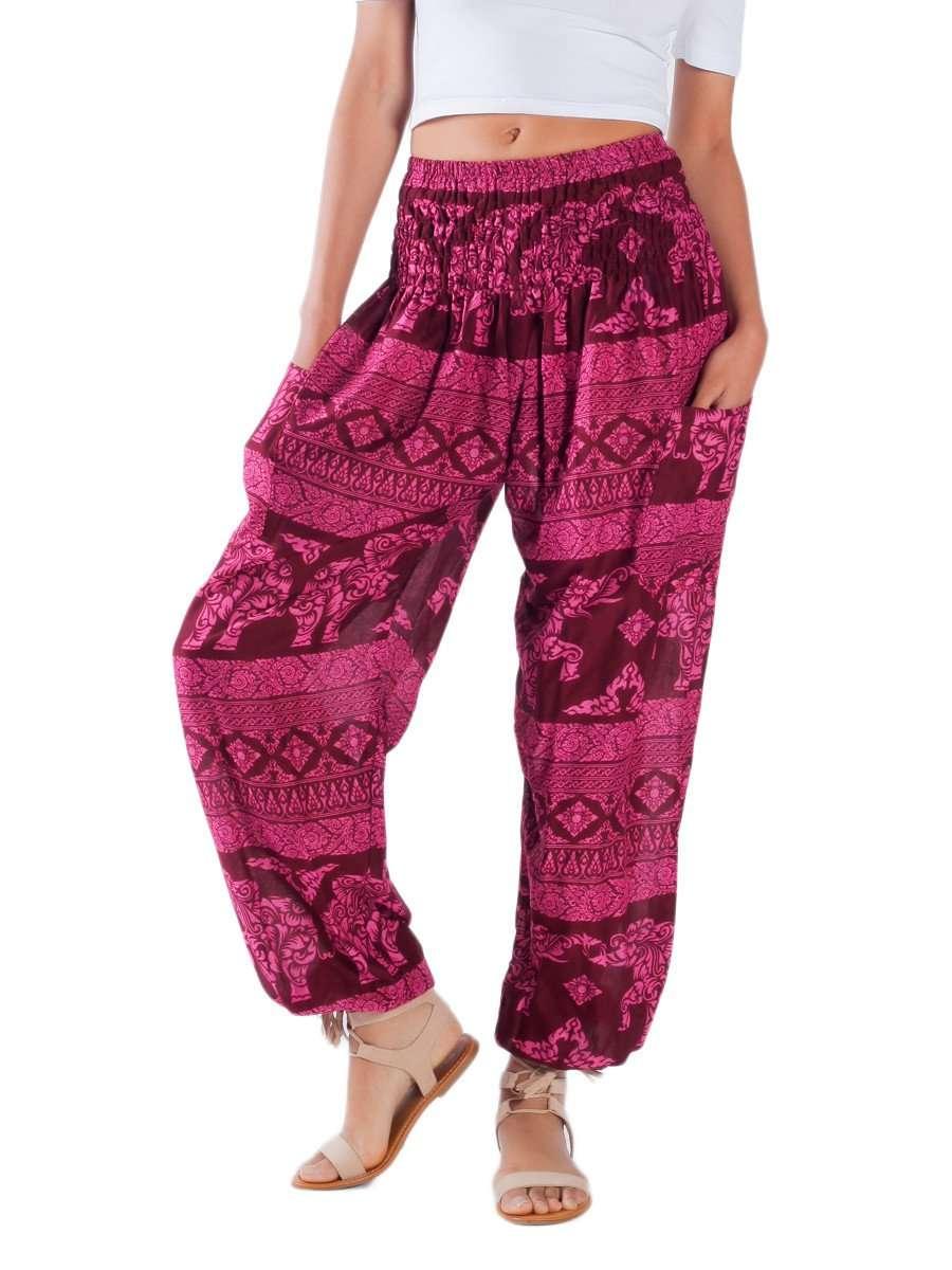 Elephant Pants Relaxed Harem Leggings Olare Burgundy festival boho