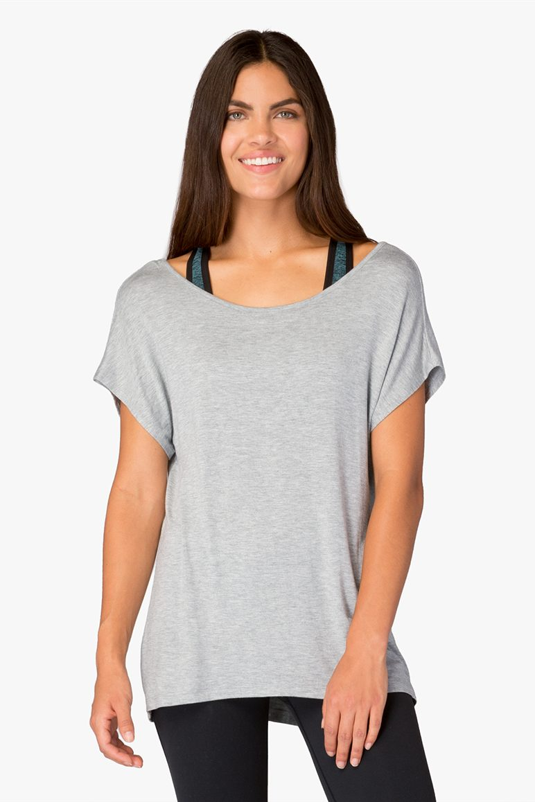 Beyond Yoga Slinky Back Tee - Heather Grey