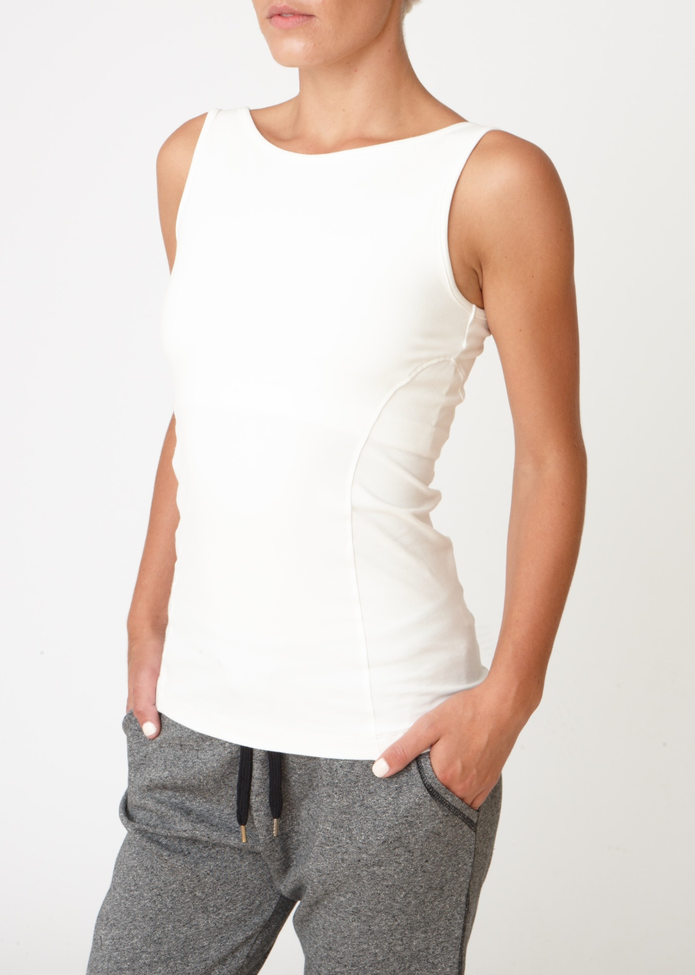Asquith Boatneck Ivory Yoga Vest top