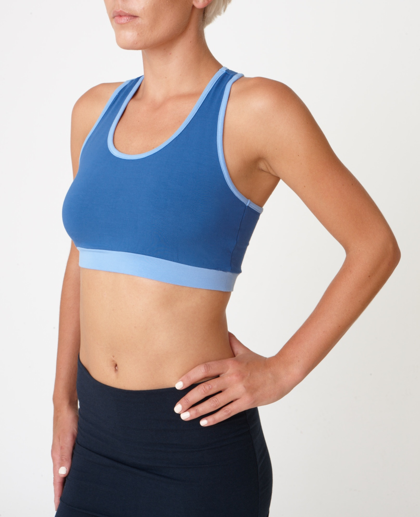 Asquith Balance Bra Yoga top denim with sky blue