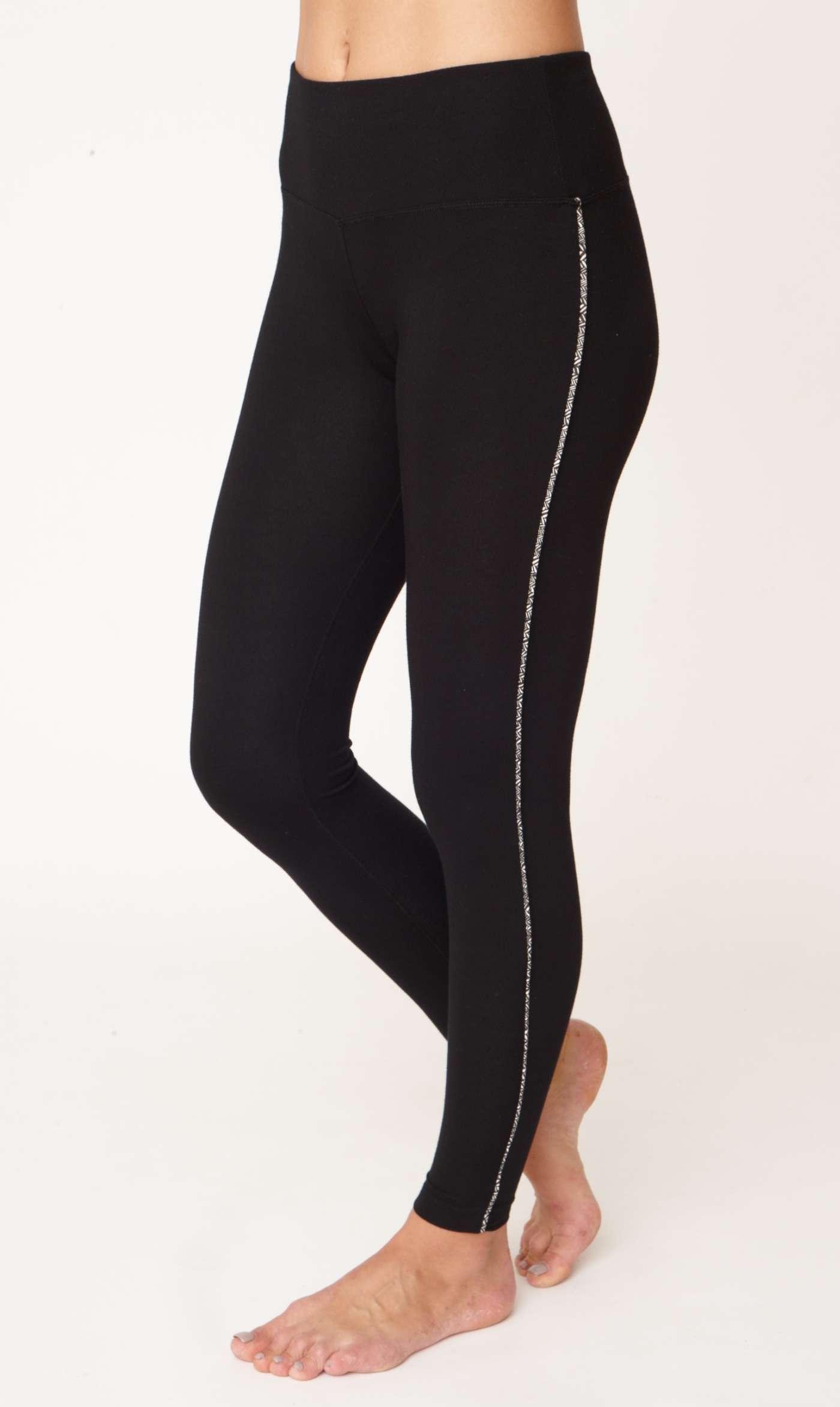 Asquith Flow With It Full Length Yoga Leggings Jet Black with Herringbone Stripe