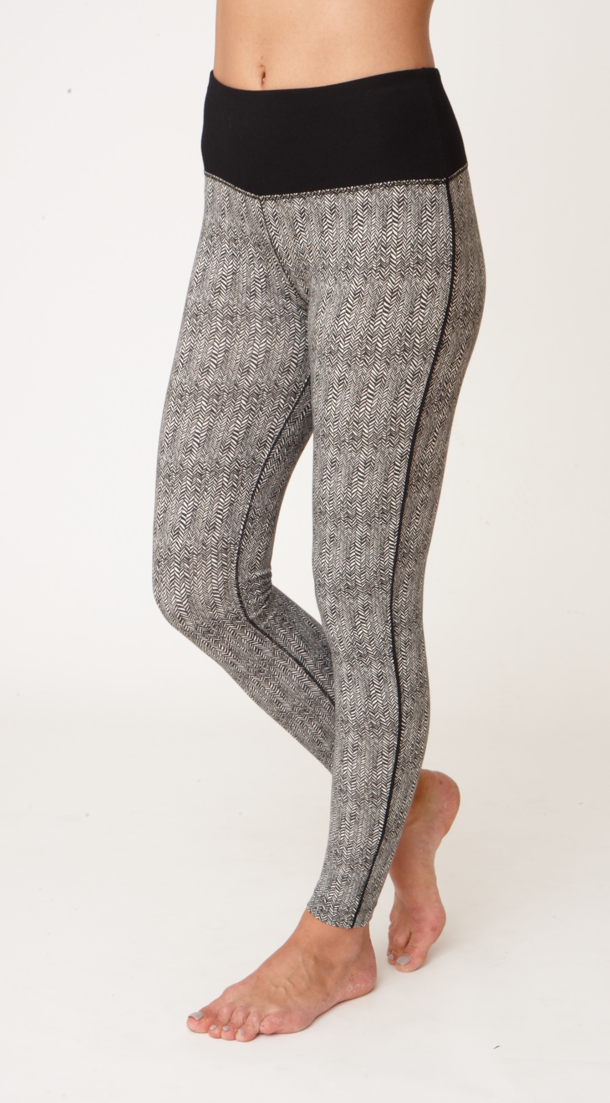 Asquith Flow With It Full Length Yoga Leggings Herringbone with Jet Black Stripe
