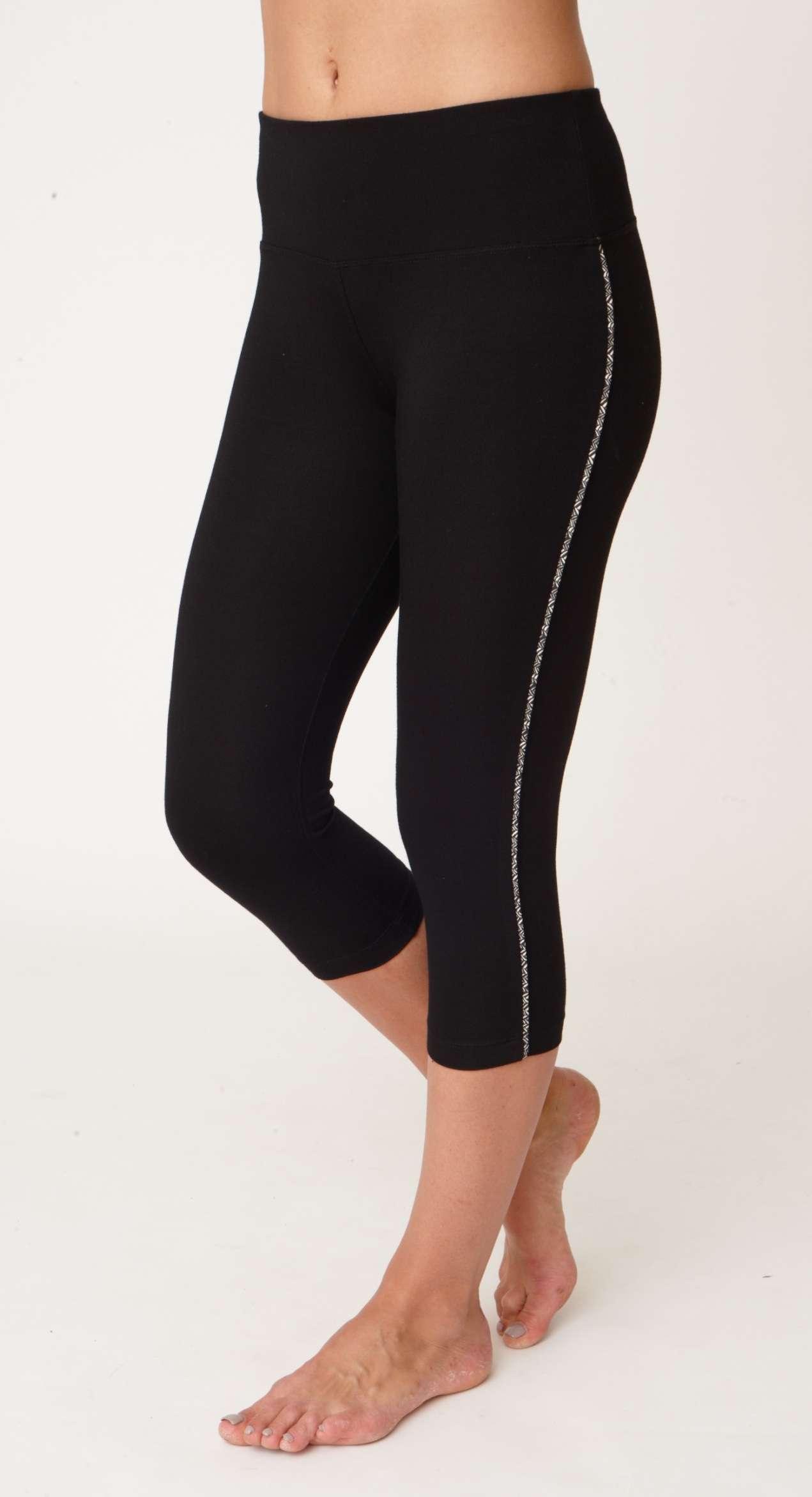 Asquith Karma Capri Yoga Leggings Jet Black with Herringbone Stripe