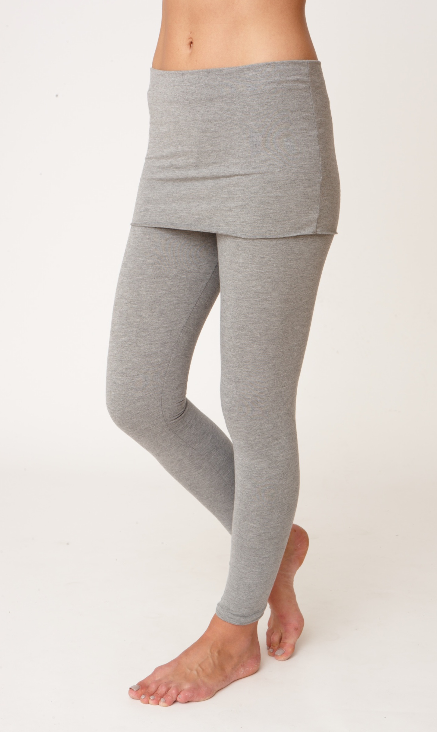 Asquith Smooth You Full Length Yoga Leggings Pale Grey marl with Waistband