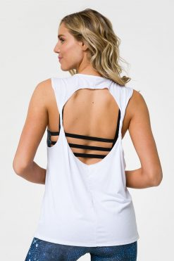 onzie twist back yoga top white