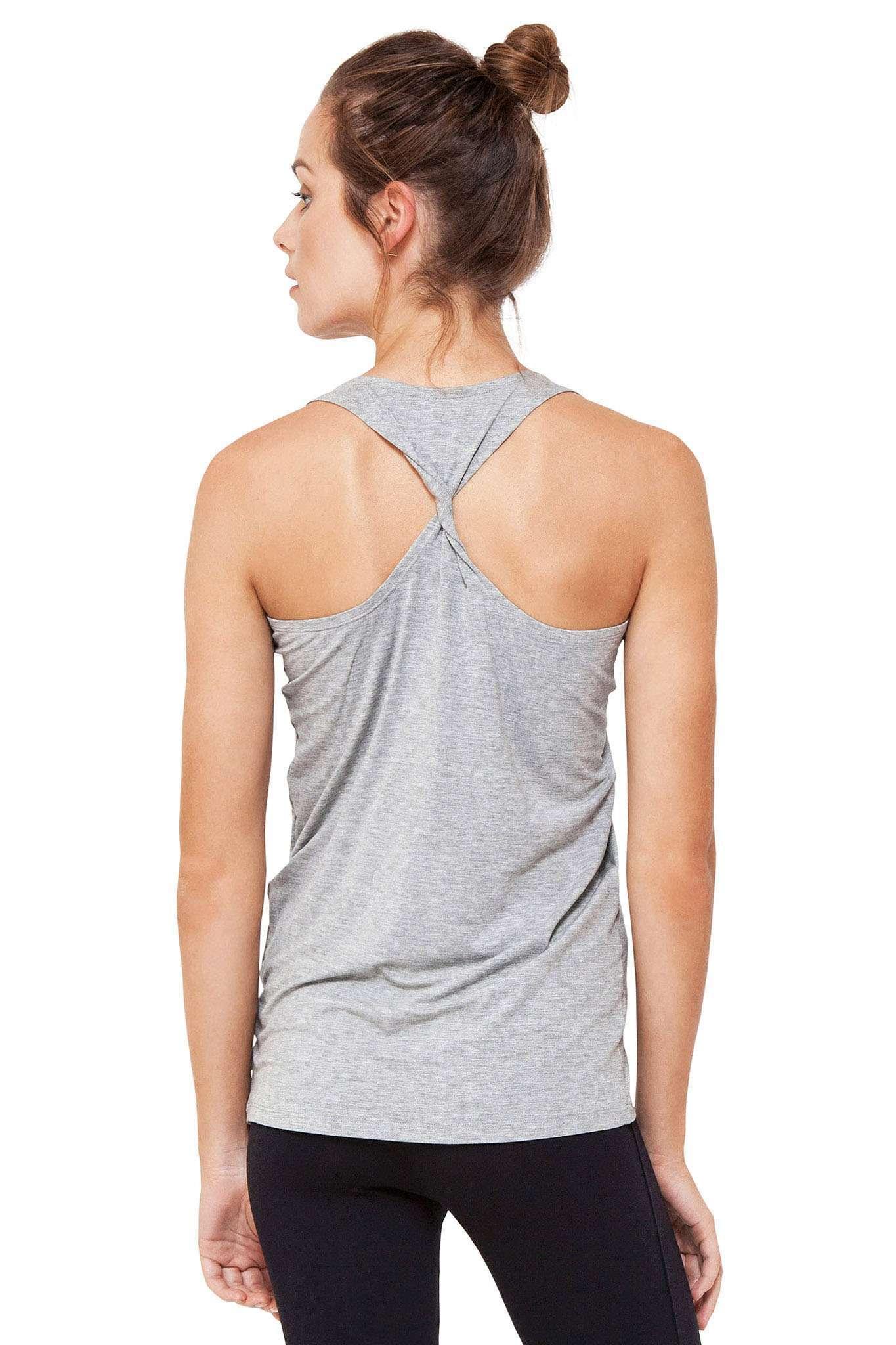 Dharma Bums twisted back bamboo yoga top melange grey