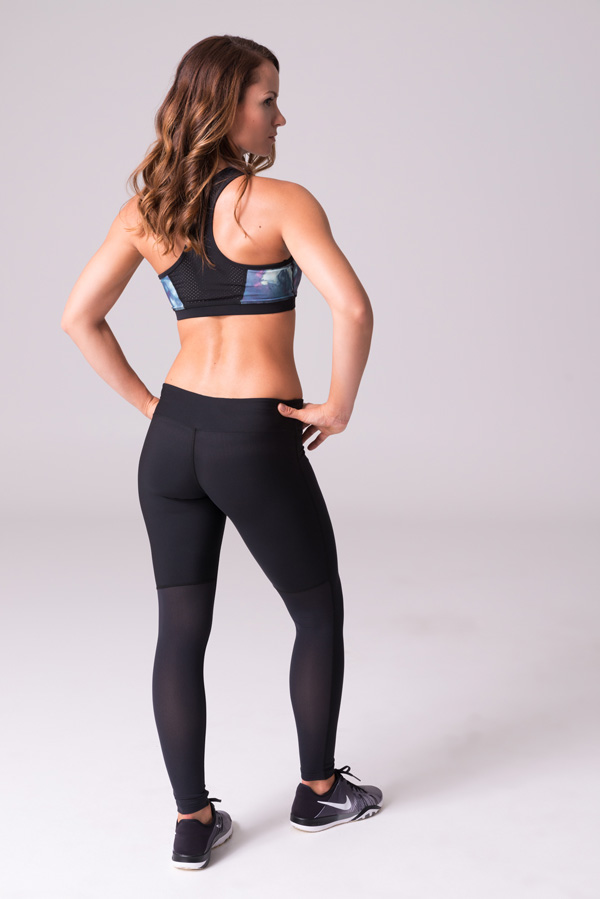 Daub Active Full Length Ava Mesh Yoga Leggings Black