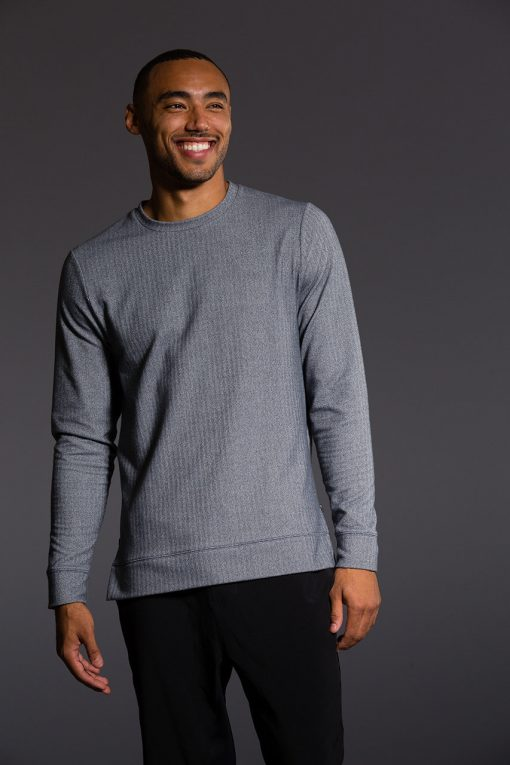 Onzie mens yoga wear pullover charcoal grey herringbone