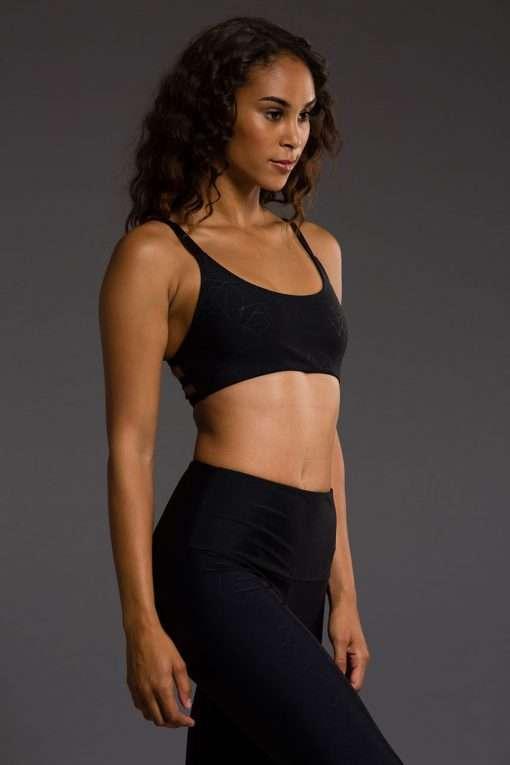 onzie black geo bra yoga top