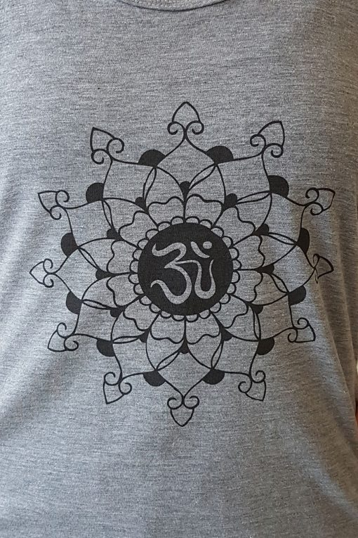 oceanflow racerback yoga top light grey mandala logo