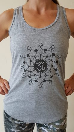 oceanflow racerback yoga top light grey mandala