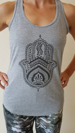 oceanflow racerback yoga top light grey hamsa