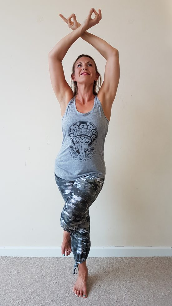 oceanflow racerback yoga top light grey ganesh