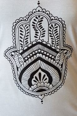 Oceanflow Yogawear Yoga Vest Top white hamsa