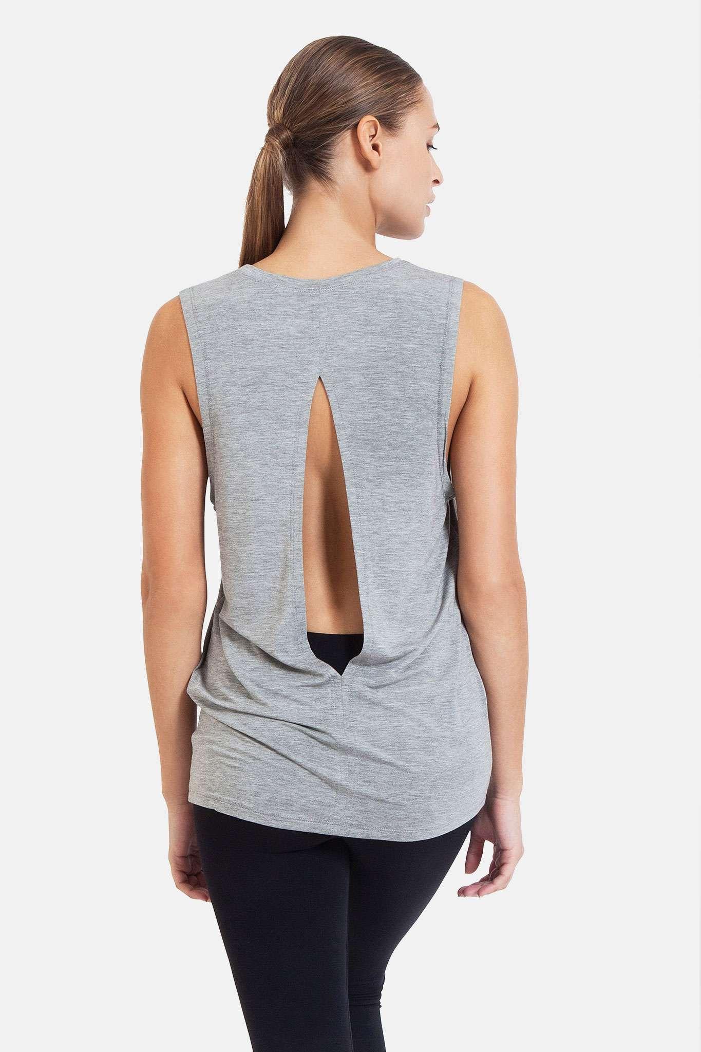 dharma bums diamond back yoga tee tank vest - melange grey