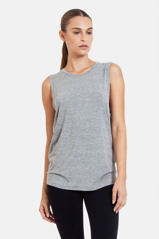 dharma bums diamond back yoga tee tank vest - melange grey