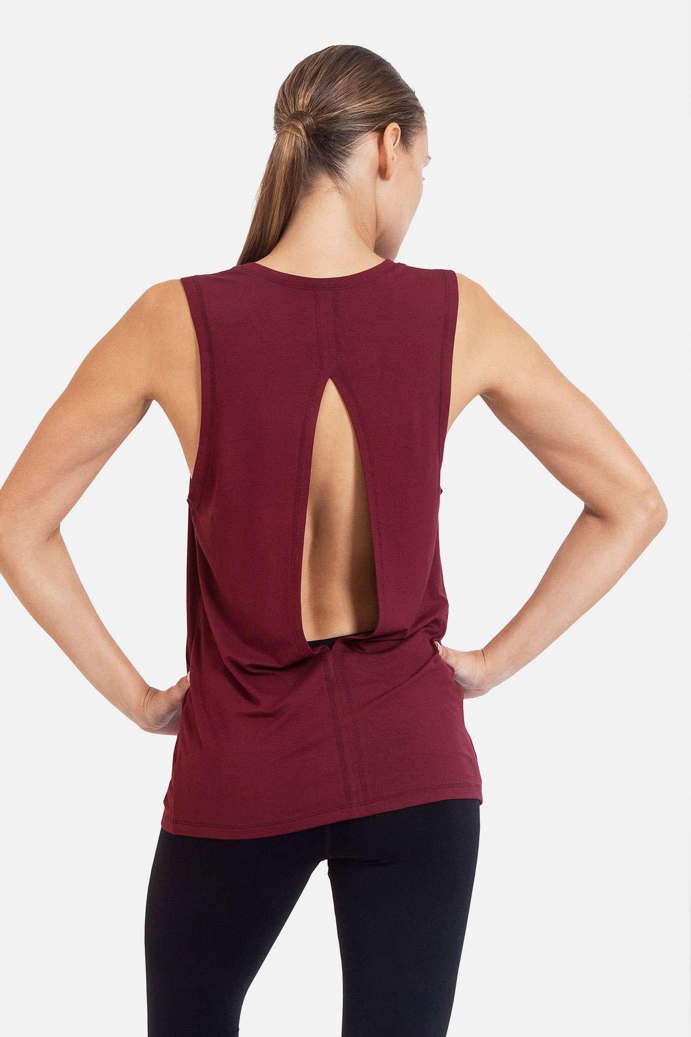 dharma bums diamond back yoga tee tank vest - wine