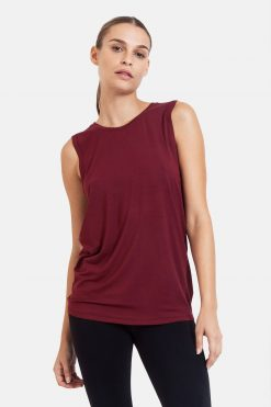 dharma bums diamond back yoga tee tank vest - wine