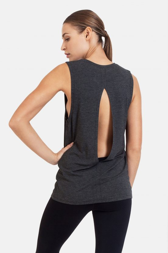 dharma bums diamond back yoga tee tank vest - charcoal