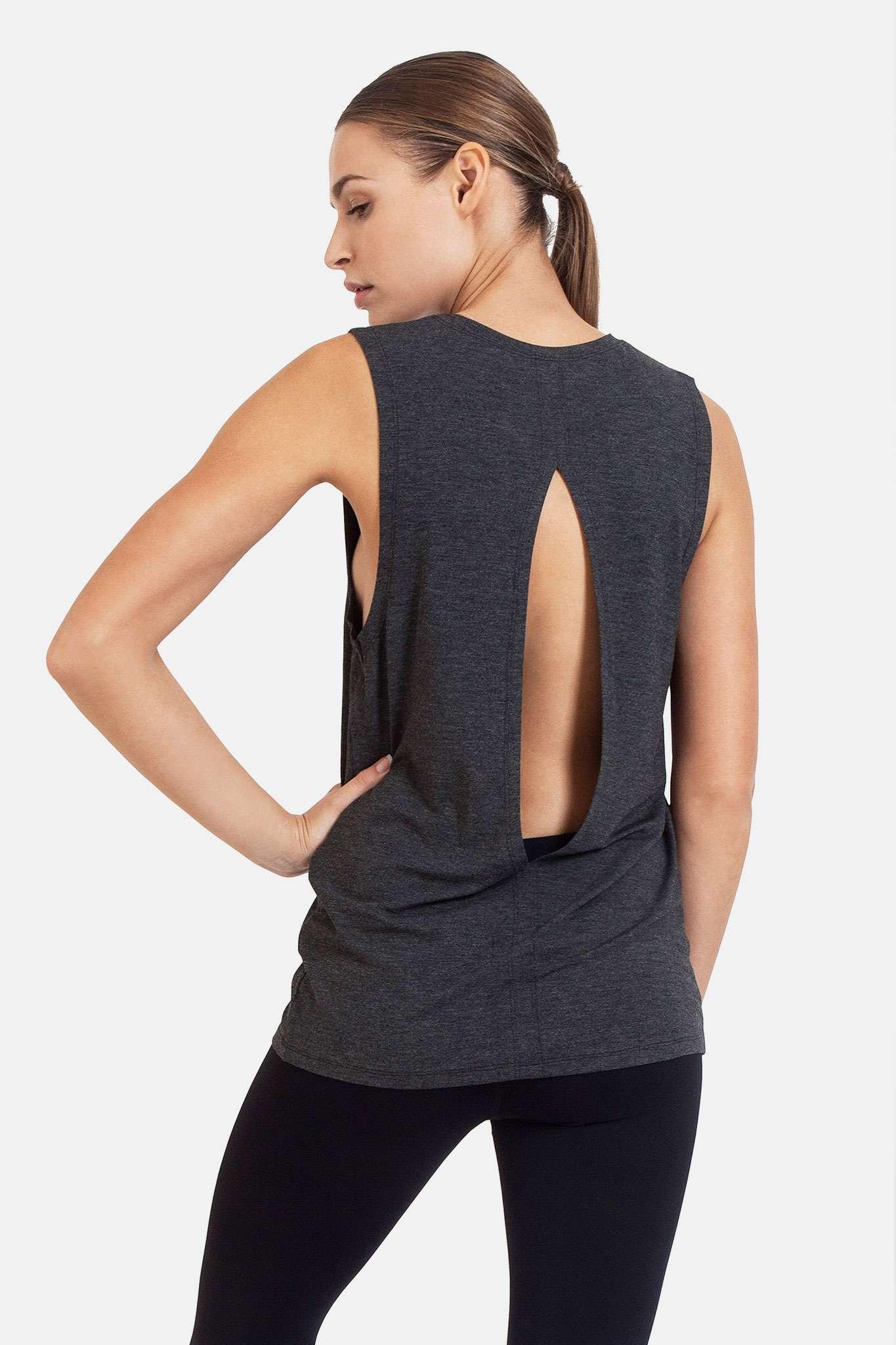 dharma bums diamond back yoga tee tank vest - charcoal