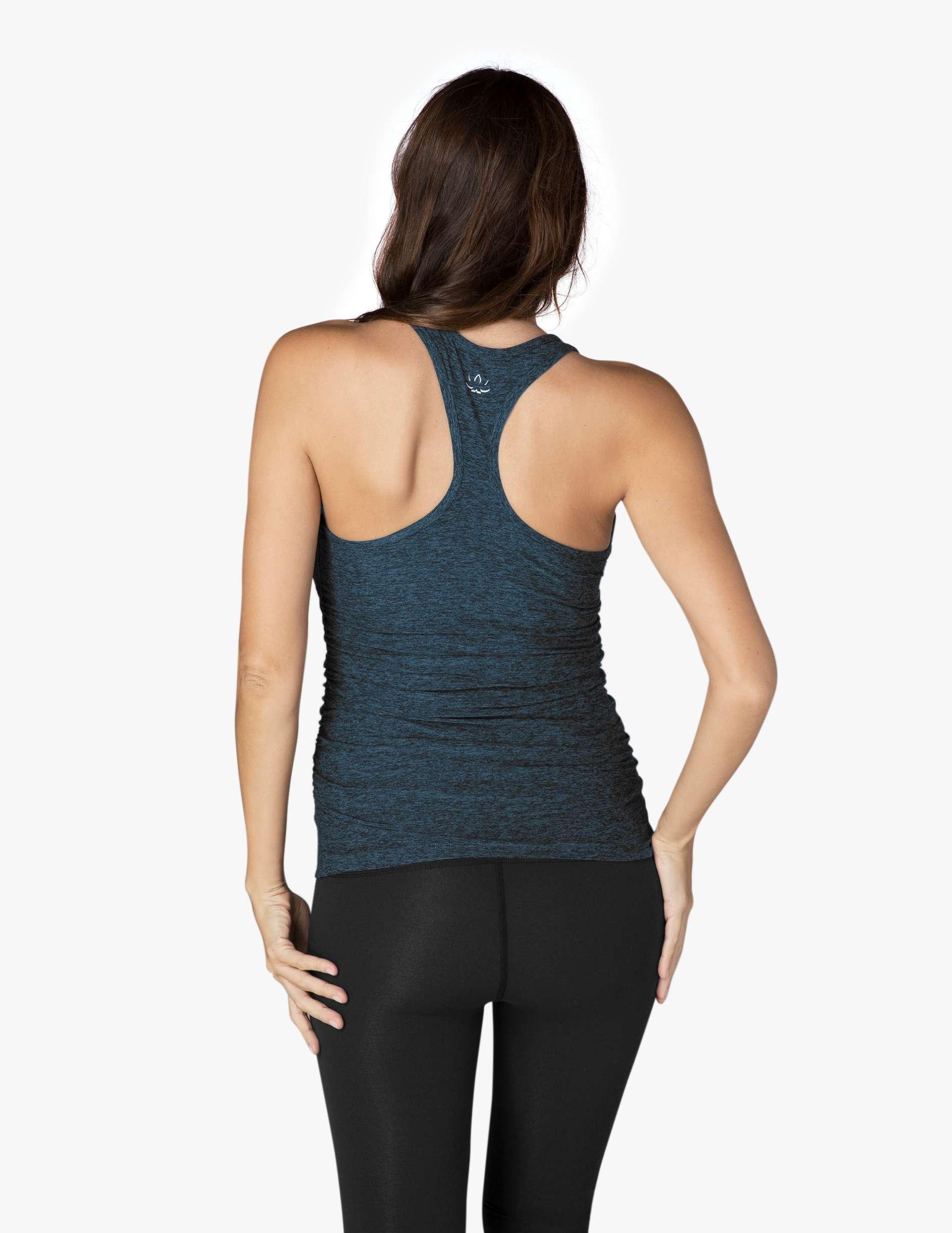 Beyoond Yog Maternity Yoga lightweight Vest top black deep sapphire blue