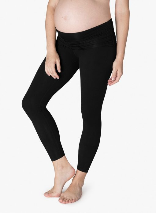 beyond yoga fold down maternity yoga leggings jet black