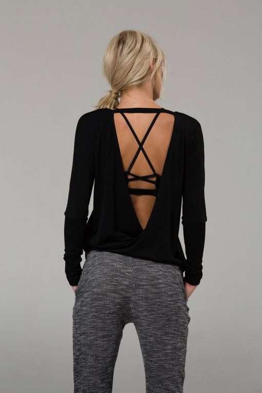 onzie drapey v back yoga top