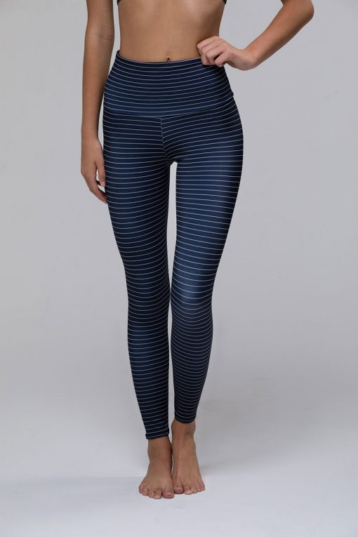 Onzie high rise basic midi yoga leggings stripe