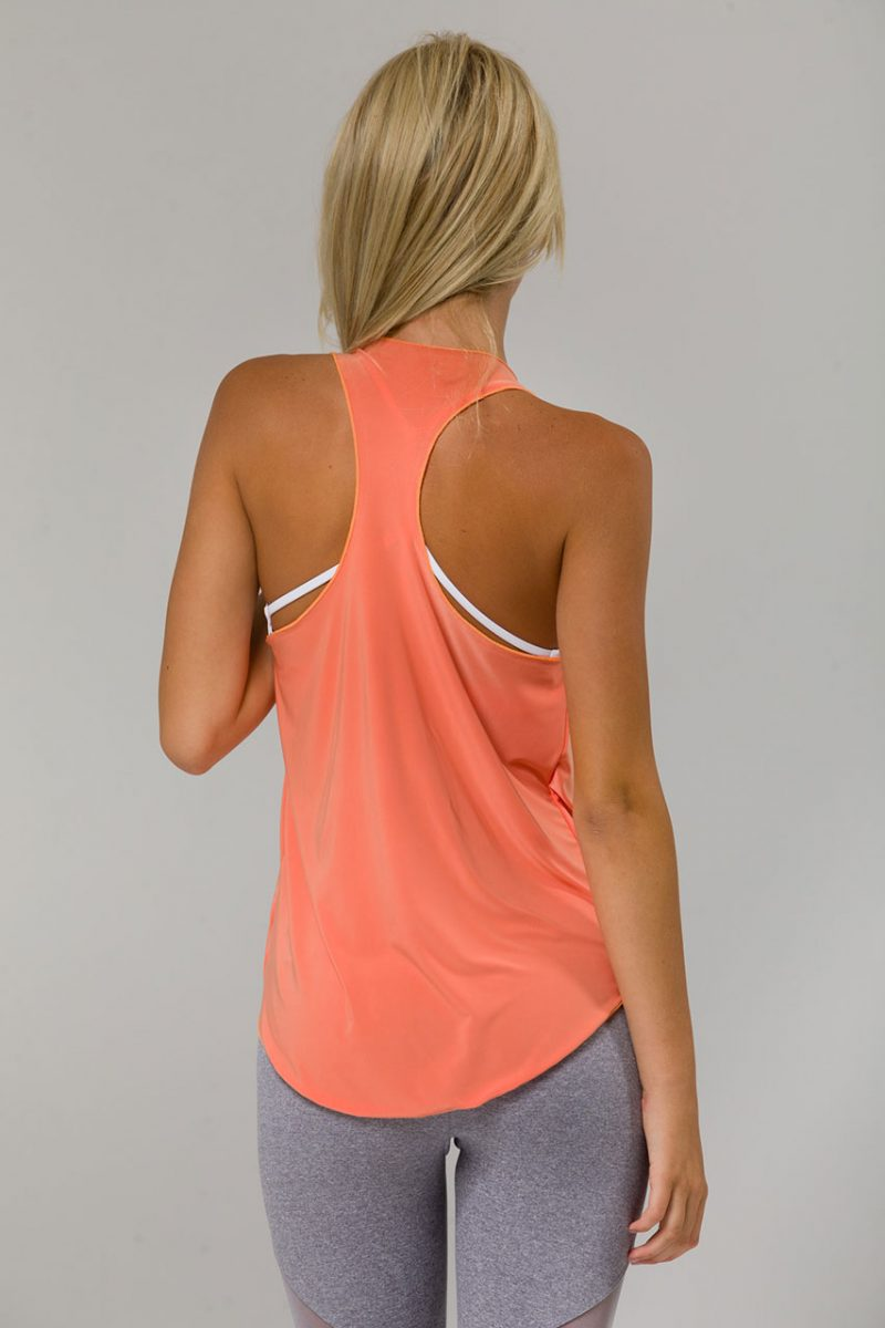 onzie glossy flow yoga top peach vest tank