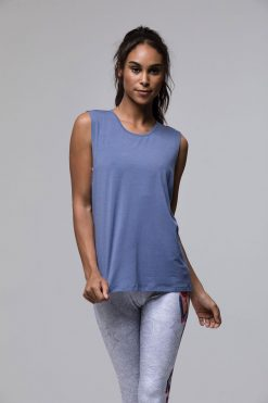 Onzie twist back yoga top slate blue tank vest top