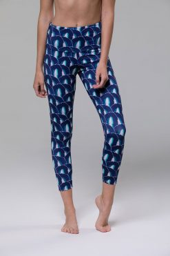 Onzie High rise basic midi yoga leggings blue geode