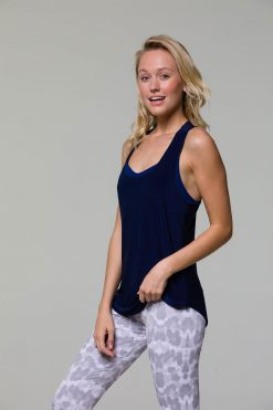 Onzie glossy flow yoga tank top navy blue