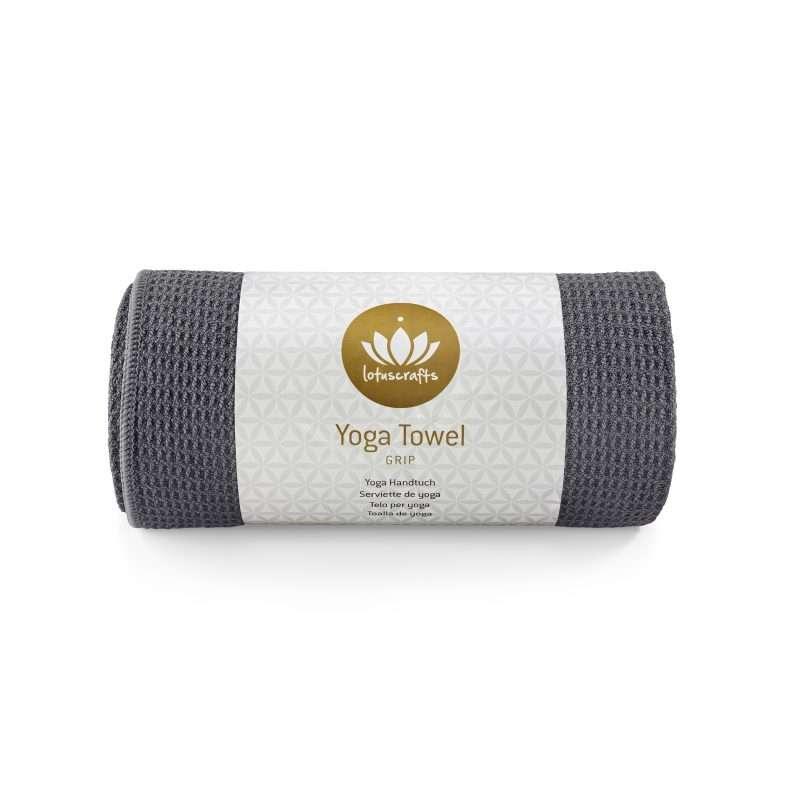 Lotuscrafts non slip hot vinyasa hot yoga towel anthracite black retail