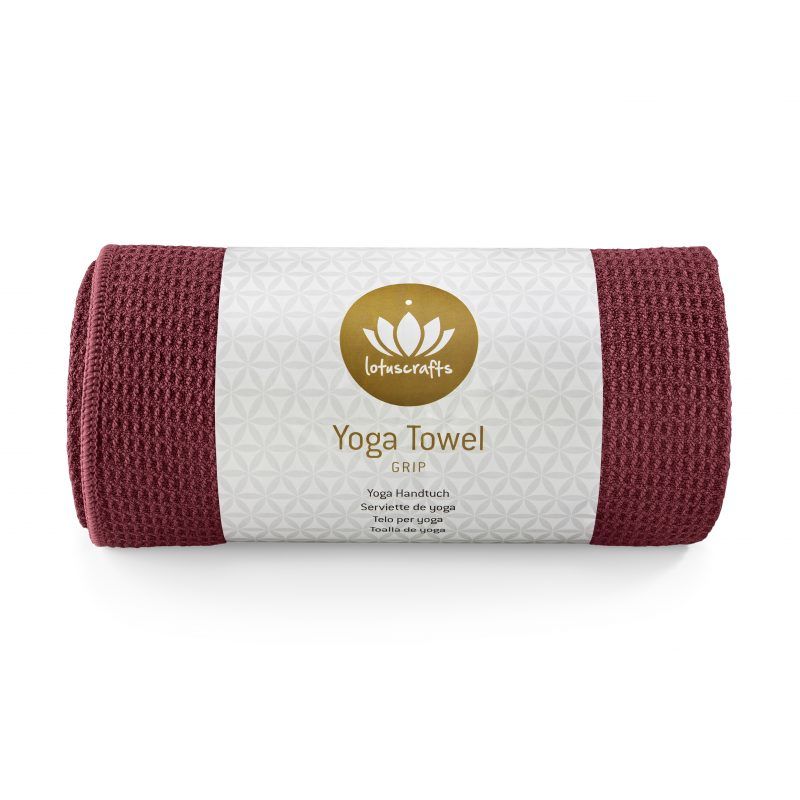 Lotuscrafts non slip hot vinyasa hot yoga towel bordeaux