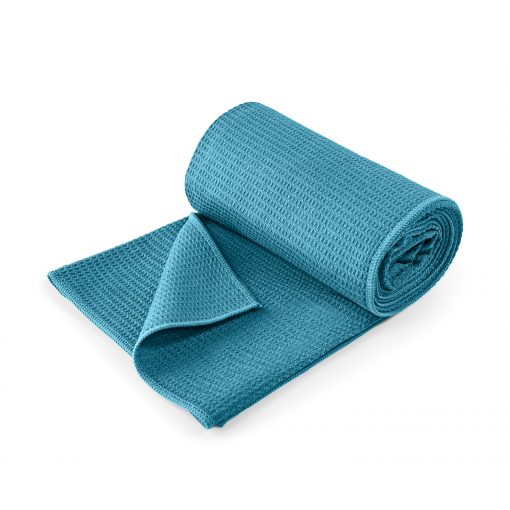 Lotuscrafts non slip hot vinyasa hot yoga towel petrol turquoise blue retail