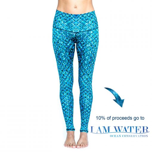 Spirit Girl full length yoga leggings I am water blue mermaid leggings